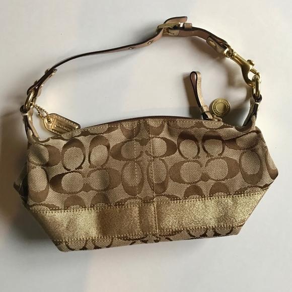 Coach Bags | Print Tan Gold Mini Purse |